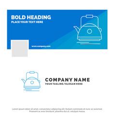 blue business logo template for tea kettle teapot vector image