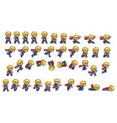 Blue ninja boy game sprites vector