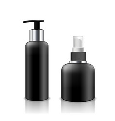 bottle black products mockup cosmetic design vector image