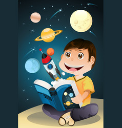 Boy reading astronomy book vector