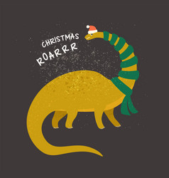 brontosaurus dressed as santa claus vector image