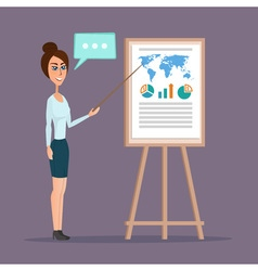 Business woman pointing at a chart board creative vector