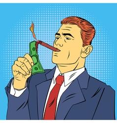 businessman lighting cigar with dollar bill vector image