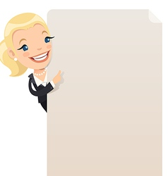 businesswoman looking at blank poster vector image