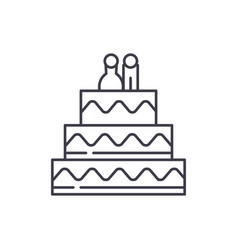 cake for lovers line icon concept cake for lovers vector image