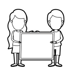 Caricature thick contour faceless full body couple vector