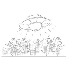 cartoon drawing of crowd of people running in vector image