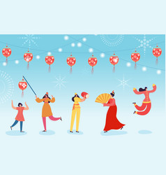 Chinese lunar new year dance characters parade vector
