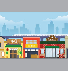 City street of japan in flat style vector