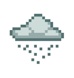 cloud rain pixel art cartoon retro game style vector image