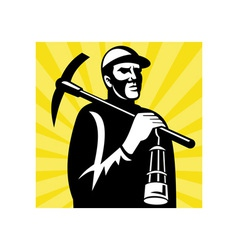 Coal miner with pick axe and lamp vector