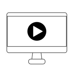 computer screen with video symbol in black and vector image