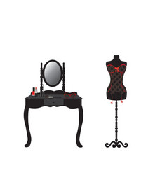 corset on mannequin and dressing table vector image