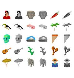 Country mexico cartoonmonochrom icons in set vector