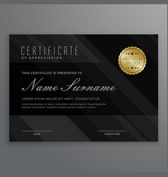 Dark diploma certificate creative design with vector