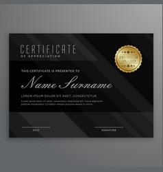 Dark diploma certificate creative design with vector