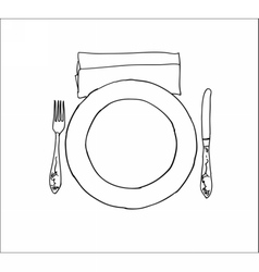 Digital knife fork and plate isolated vector