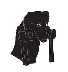 dog portrait silhouette vector image