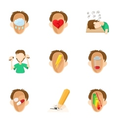Emotions types icons set cartoon style vector image