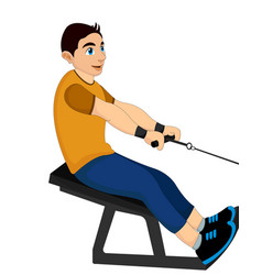 Exercising man pulling weights vector