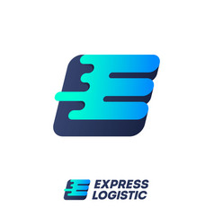 Express logistic logo e and l monogram with wind vector