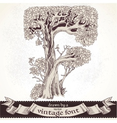 Fable forest hand drawn by a vintage font - F vector image vector image