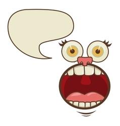 Face cartoon gesture with dialog irregular box vector