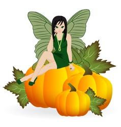 Fairy on a pumpkin vector image