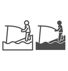 fishing line and glyph icon fisher and rod vector image