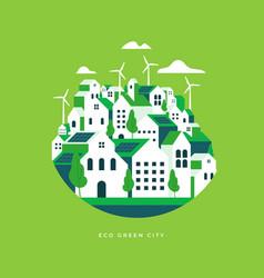 flat geometric buildings eco city landscape vector image