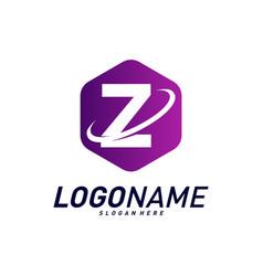 Font with planet logo design concepts letter z vector