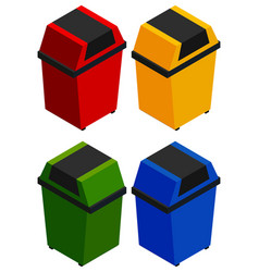 Four rubbish bins in 3d design vector