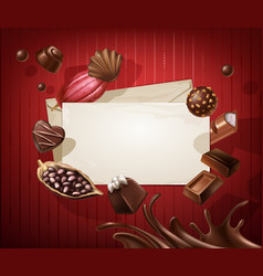 frame for the title with a pattern of chocolates vector image