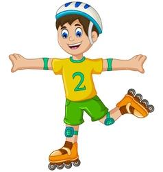 funny boy cartoon plying roller skates vector image
