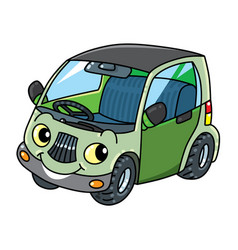 Funny small car with eyes vector