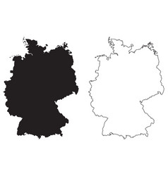 Germany country map black silhouette and outline vector