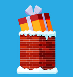 gift box in chimney isolated vector image