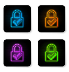 glowing neon open padlock and check mark icon vector image