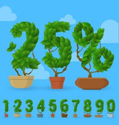 green leaf character set vector image