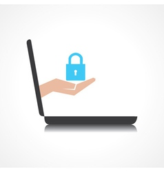 Hand holding lock comes from laptop screen vector