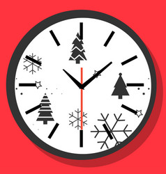 happy new year christmas time concept wall clock vector image