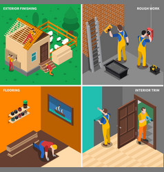 home repair worker people icon set vector image