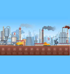 Industrial infographics with factories and plants vector