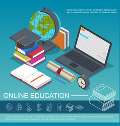 isometric online education colorful composition vector image