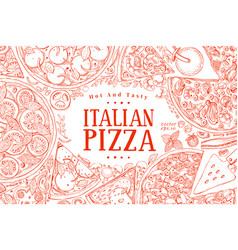 Italian pizza top view frame a set of vector