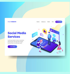 landing page template of social media services vector image