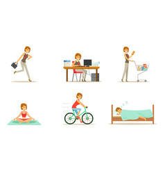 Life style and daily routine a working woman vector