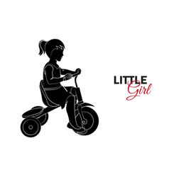 little child baby little girl riding a bicycle vector image