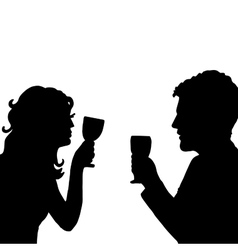 Love cheers Pair with glass vector