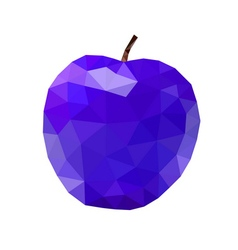 Low poly apple icon Purple vector image